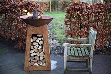 esschert feuerschale rost mit brennholzfach l ff170. Black Bedroom Furniture Sets. Home Design Ideas